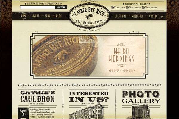 Lather Bee Rich | Vintage / Retro Web Design
