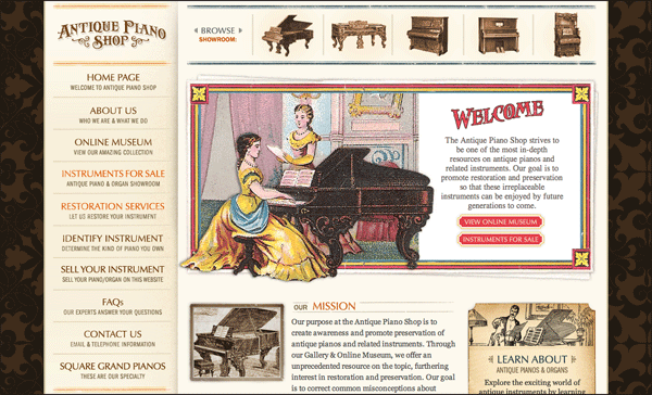 Antique Piano Shop | Vintage / Retro Web Design