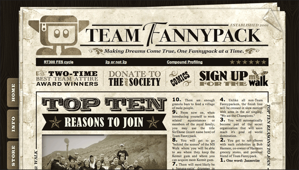 Team Fannypack | Vintage / Retro Web Design